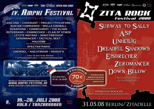 2007-11-30 : Zwei Festivals - Ein Preis! AMPHI FESTIVAL + ZITA ROCK FESTIVAL
