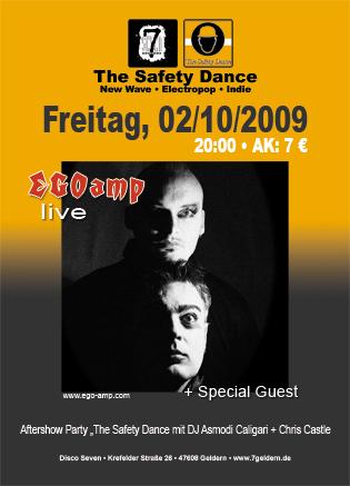 Morgen (02.10.2009) startet die Club-Reihe The Safety Dance mit Live-Auftritt von EGOAMP