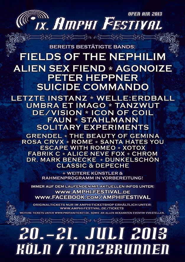 Das AMPHI FESTIVAL 2013 präsentiert neue Bands und verspricht eine Überraschung