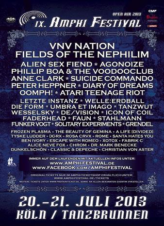 Preview : AMPHI FESTIVAL 2013 - VNV, FOTN, PHILLIP BOA und Co. locken nach Köln