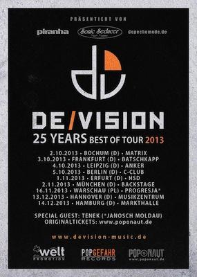 Preview : DE/VISION feiern 25 Jahre Bandbestehen mit Best Of Tour
