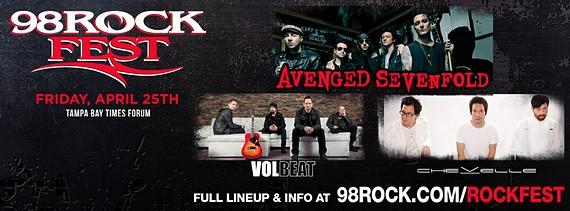 Preview : 98ROCK präsentiert das 98Rockfest mit A7X, VOLBEAT uvm in Tampa Bay, FL
