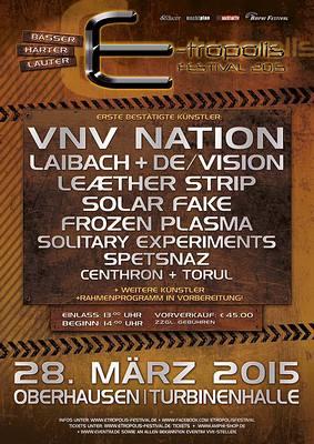 E-TROPOLIS FESTIVAL feiert 2015 Geburtstag mit VNV NATION, LAIBACH, DE/VISION uvm.