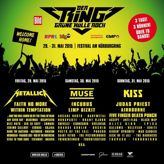 Preview : DER RING - GRÜNE HÖLLE ROCK 2015 kontert mit METALLICA, KISS, MUSE uvm.