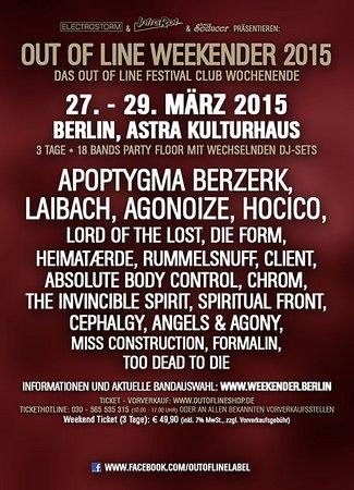 Preview : OUT OF LINE WEEKENDER 2015 findet vom 27.-29.03. im Astra Kulturhaus Berlin statt