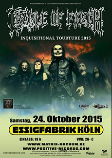 Preview : CRADLE OF FILTH kommen am 24.10.2015 in die Essigfabrik Köln