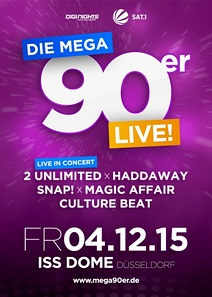 Preview : Die MEGA 90er Live mit SNAP!, HADDAWAY, CLUTURE BEAT und  2 UNLIMITED