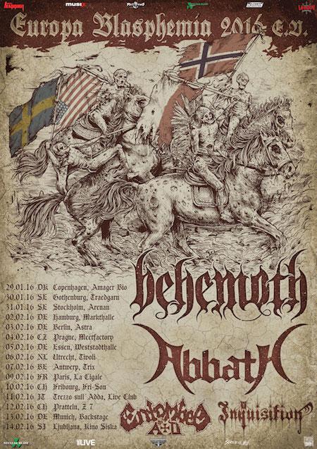 BEHEMOTH gemeinsam mit ABBATH, ENTOMBED A.D. und INQUISITION auf Tour 2016