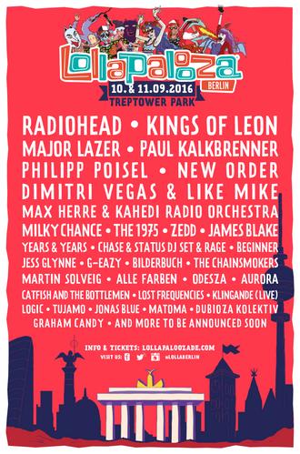 Lollapalooza Festival Berlin 2016 - Alle Infos gibt es hier stetig aktualisiert