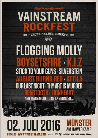 VAINSTREAM Rockfest in Münster am 02. Juli 2016 mit starkem Line-up