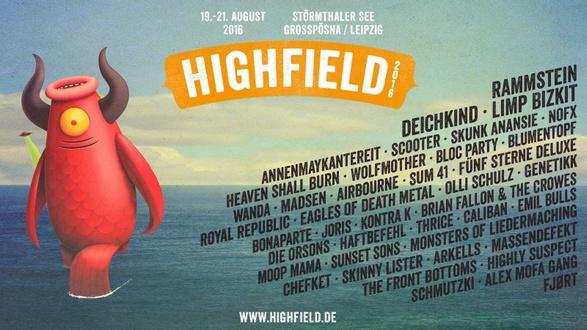 HIGHFIELD FESTIVAL 2016 lockt mit RAMMSTEIN, DEICHKIND, ANNENMAYKANTEREIT, SCOOTER und mehr