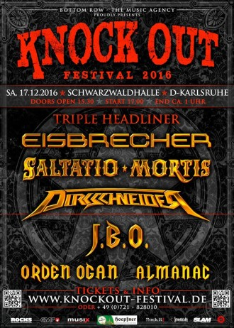 KNOCK OUT FESTIVAL 2016 mit Triple-Headliner in Karlsruhe am 17.12.2016