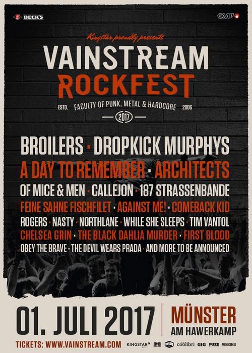 VAINSTREAM ROCKFEST 2017 mit den BROILERS, DROPKICK MURPHYS uvm.