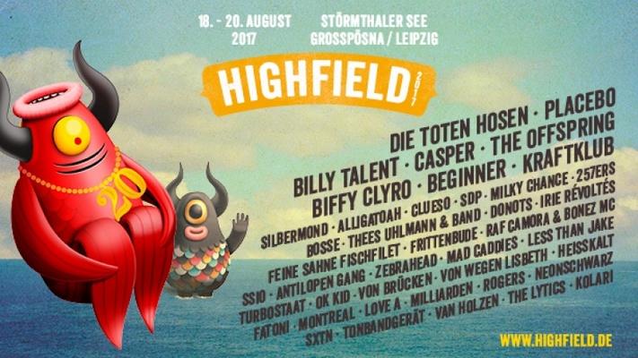 Das HIGHFIELD FESTIVAL 2017 lockt mit DIE TOTEN HOSEN, PLACEBO, BILLY TALENT, CASPER uvm.