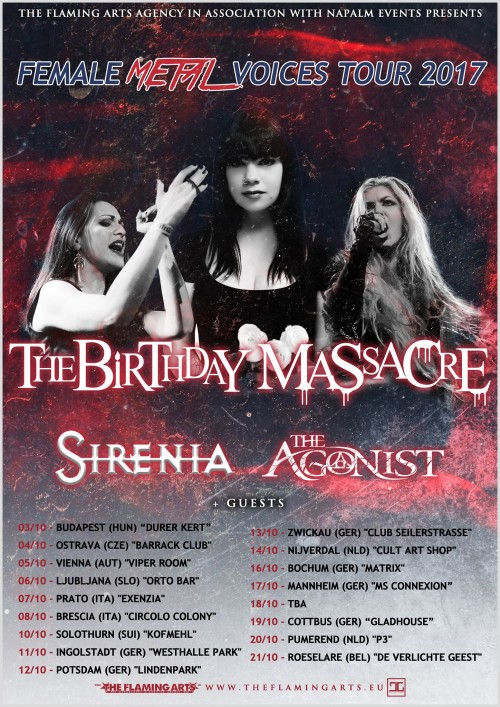 METAL FEMALE VOICES TOUR 2017 mit u. a. THE BIRTHDAY MASSACRE, SIRENIA und THE AGONIST