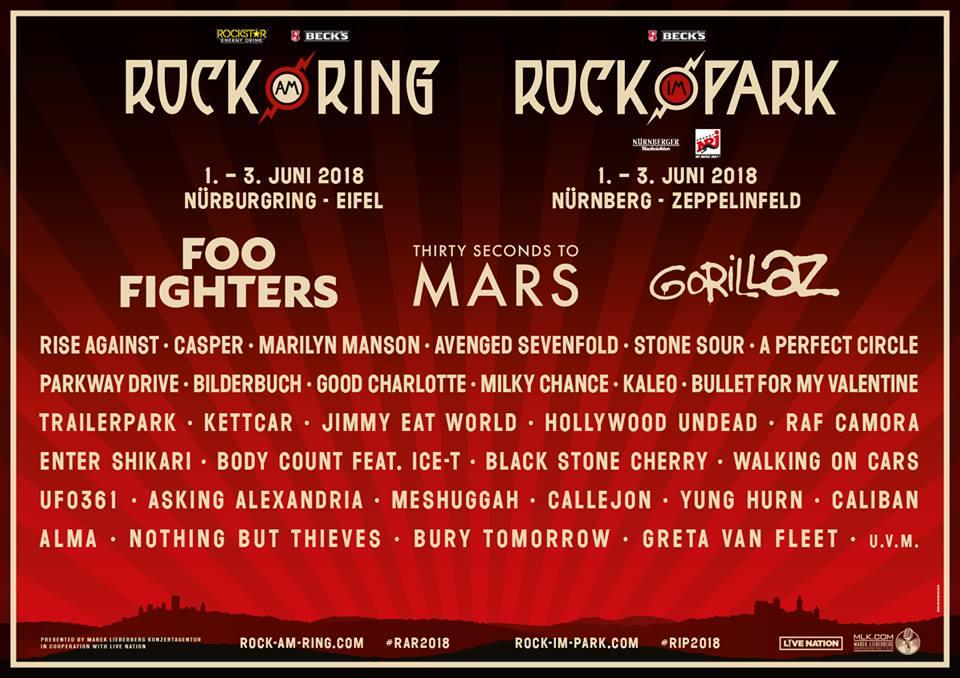 ROCK AM RING & ROCK IM PARK 2018 mit erster Bandwelle