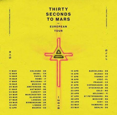 THIRTY SECONDS TO MARS kommen ab März 2018 nach Deutschland