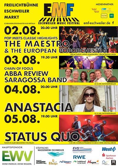 Eschweiler Music Festival 2018 u.a. mit STATUS QUO und ANASTACIA