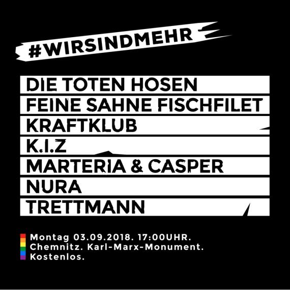 #wirsindmehr - Gratiskonzerte als Zeichen gegen rechts (Chemnitz)