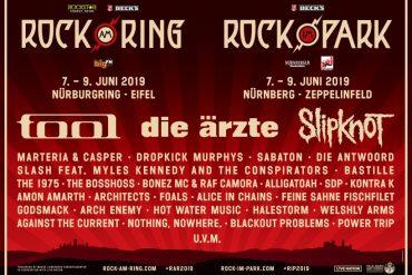 DIE ÄRZTE, TOOL und SLIPKNOT als Headliner bei ROCK AM RING/ROCK IM PARK 2019