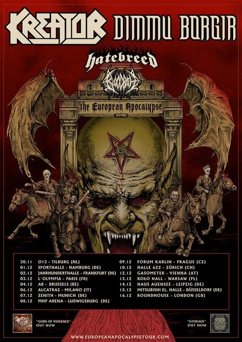European Apocalypse Tour 2018 mit DIMMU BORGIR, KREATOR, HATEBREED und BLOODBATH