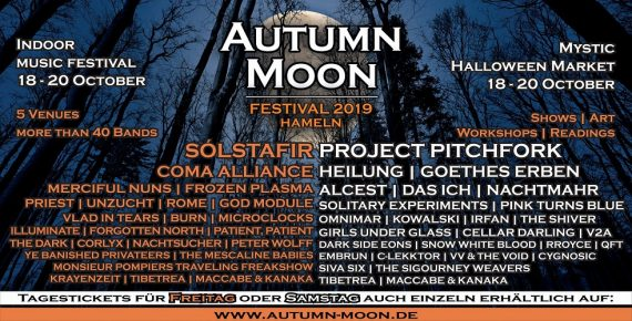 Update: AUTUMN MOON 2019: Neuer Headliner - PROJECT PITCHFORK
