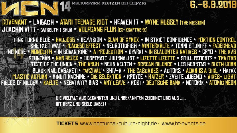 NCN - NOCTURNAL CULTURE NIGHT 2019 - alle Bands, alle Infos