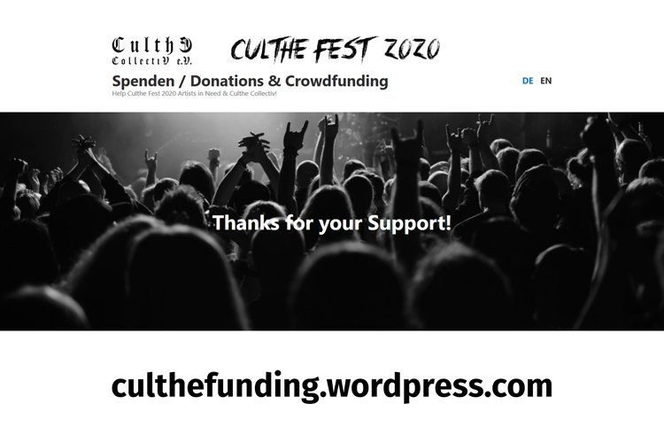 CULTHE FEST auf 2021 verschoben - CULTHE COLLECTIV startet Spenden- und Crowdfunding-Aufruf: Die CULTHE dürfen nicht sterben!