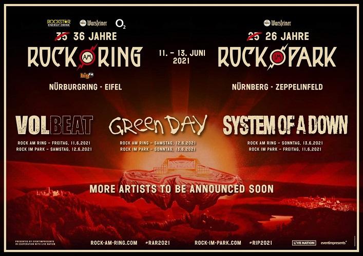ROCK AM RING & ROCK IM PARK - Headliner bleiben für 2021 bestehen.